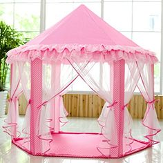 SkyeyArc Princess Playhouse With Lace, Pink Tent, Princess Castle Play Tent, Castle Playhouse, Kids Tents, Great Christmas Gifts For Kids