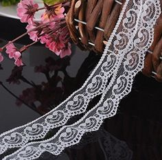 1' Lace Trim Embroidered DIY Mesh Fabric Inelastic For Decor Crafts Doll Dress Wedding Dress Decor Skirt Sewing Bridal Lot 150 Yards (White) -- Read more at the image link.