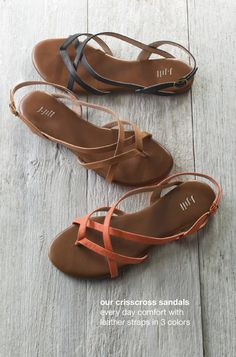 crisscross sandals - could these be more perfect? I think if I designed my own sandal, it would look like this. Especially like the tan color, though black is nice, too. J. Jill - again!