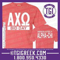 TGI Greek - Alpha Chi Omega - Bid Day - Greek T-shirt - Comfort Colors #tgigreek #bidday