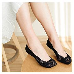 5 Pairs Sweet Girls Womens Lace Antiskid Lace Liner No Show Peds Low Cut Socks Color5 Black ** Check this awesome product by going to the link at the image.