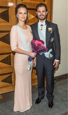 Princess Sofia of Sweden wears a pink sequin column gown