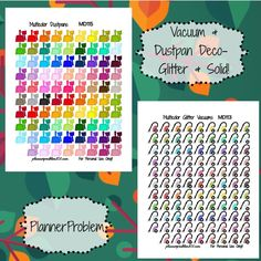Multicolor Vacuums & Dustpans! (Household Items #2) {Glitter & Solid} | Free Printable Planner Stickers