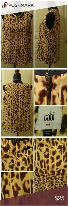 "Cabi ""Ginger"" Leopard Sleeveless Top *This top by Cabi is versatile, and super chic!  It is a leopard print that has beige, brown, and a touch of black.  It is sleeveless, has a zipper in the back, and cute detailing at the neck.  It is in excellent condition.  This top would be perfect for a day or night time look.  It can easily be paired with a cardigan, blazer, or jacket!  (last photo credit: cabionline.com)* CAbi Tops"