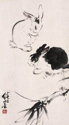Japan Painting, Ink Painting, Watercolor Paintings, Animal Paintings, Animal Drawings, Japanese Artwork, Tinta China, Rabbit Art, Bunny Art