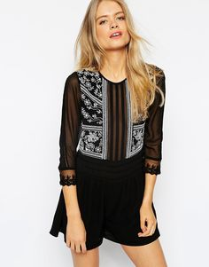 ASOS Woven Romper With White Embroidery
