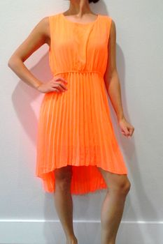 Hot Orange Hi-Low Dress with Accordial Pleats!