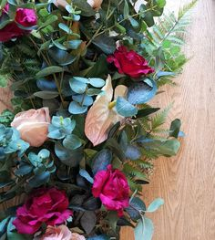 Wedding garlands, wedding decor with eucalyptus, roses, anthuriums and peonies Wedding Garlands, Wedding Bouquets, Wedding Flowers, Wedding Decorations, Navy Blue Living Room, Sustainable Wedding, Peonies, Floral Arrangements, Succulents