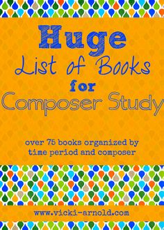 HUGE list of books for composer study! Over 75 books organized by time period and composer. There is also a list of bonus activities! Morehouse Morehouse Guffey, maybe this would help you with your music instruction :) Piano Lessons, Music Lessons, Middle School Music, Art Music, Music Mix, Music Books, Children's Books, Piano Teaching, Music Activities