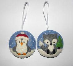 Wool Felt Christmas Tree Ornament Set of 2 Penguin Fox