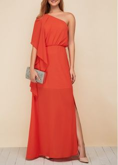 carrot off-shoulder maxi dress w/ cascading right sleeve Women's Fashion Dresses, Sexy Dresses, Casual Dresses, Casual Outfits, Side Slit Maxi Dress, Club Party Dresses, Clubwear, Homecoming Dresses, Ball Gowns