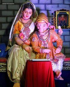 Mata Parvati And Ganesh