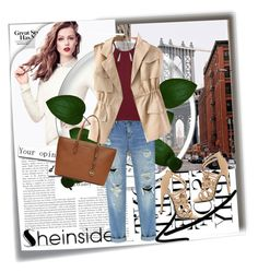 """""""Sheinside 9"""" by dinna-mehic ❤ liked on Polyvore featuring Post-It, H&M, Qupid, MICHAEL Michael Kors and Sheinside"""