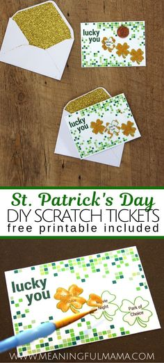 Here's a fun St. Patrick's Day activity for Kids - St. Patrick's Day DIY Scratch off Ticket - Great gift to give to children on St. St. Patrick's Day Diy, Scratch Off Tickets, Luck Of The Irish, Fun Activities For Kids, Kids Prints, Blank Cards, Fourth Of July, St Patricks Day, Gifts For Kids