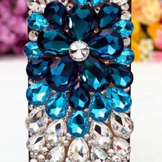 Crystal flower jeweled iphone case