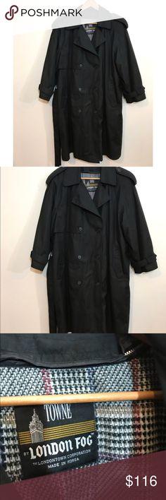 90's Plus Size London Fog Coat Black lined plus Size London fog Vintage 90's Coat London Fog Jackets & Coats Trench Coats
