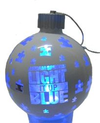 """Autism Speaks """"Light It Up Blue"""" ornament with blue LED light. Switches on and off at top. Another way to shine a light on autism! - See more at: http://shop.autismspeaks.org/product_p/as216.htm#sthash.IC2YPD62.dpuf"""