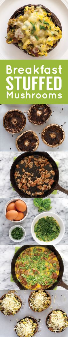 Stuffed portabellos create the perfect individual serving size for this unique brinner recipe. Pan Francés, Breakfast Dishes, What's For Breakfast, Low Carb Breakfast, Breakfast Recipes, Breakfast Casserole, Low Carb Recipes, Diet Recipes, Healthy Recipes