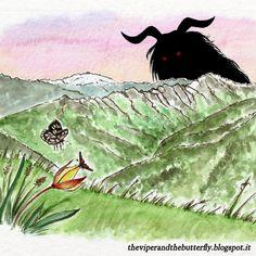 The #devil of #Valgrande. From 🐍 LA VIPERA E LA FARFALLA 🦋, our animated #webcomic about war and plague, love and destiny in Italian Alps in 1917. English, French and Italian versions. #comics #manga #romance #Alps #Italy #ww1 #drama #watercolour #lagomaggiore