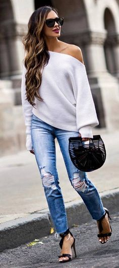 outfit of the day white one shoulder top   bag   rips   heels