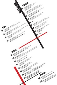 table of contents on Behance