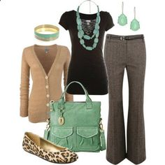 Grey dress pants with a pop of color in jewelry, red or turquoise with cardigan and shoes to match.