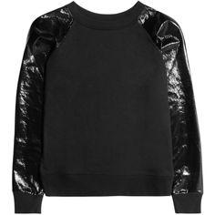 Karl Jerry PVC-sleeve cotton-jersey sweatshirt ($160) via Polyvore