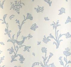 Lim & Handtryck Tapet - Fågelblå vit/blå
