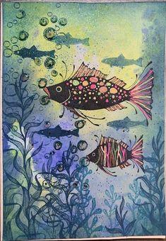 Magic Tutorial, One Fish Two Fish, Lavinia Stamps, Artist Trading Cards, Fairy Art, Atc, Sea Creatures, Under The Sea, Hugs