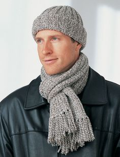 Men's Hat and Scarf Free Knitting Pattern. Skill Level: Easy Knit this classic hat and scarf for a special guy. Made from Bernat Denimstyle on size 5 mm (U. Free Pattern More Patterns Like This! Knitting Patterns Free, Free Knitting, Free Pattern, Hat Patterns, Crochet Patterns, Mens Hat Knitting Pattern, Start Knitting, Knitting Ideas, Knitting Needles