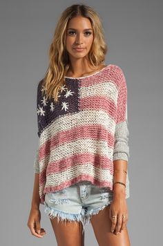 39f85a142b6f1 Free People Flag Sweater in Red & White & Blue | REVOLVE American Flag  Sweater,