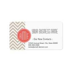 Stylish Taupe and Coral Custom Monogram Label