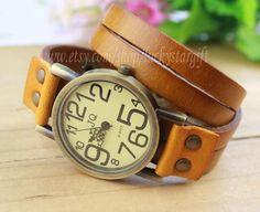 Orange leather watch, men's wrist watch, vintage style watch, women's watch- W011 on Etsy, $15.99