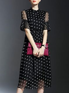 Shop Midi Dresses - Black Work Polka Dots Printed Midi Dress online. Discover unique designers fashion at StyleWe.com.