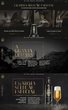 Stylish website interface for beer company. You can't go wrong for a classic look with dark tones in black and gold. Website Design Layout, Website Design Inspiration, Web Layout, Layout Design, Layout Site, Design Ideas, Web Design Studio, Web Ui Design, Graphic Design