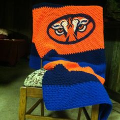 Auburn Eyes afghan $65.00 + shipping 4 1/2 x 5 1/2 Crocheted with airbrushed logo