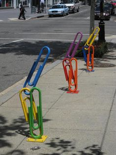 COLOURFUL paper clip bike racks!