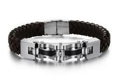 Genuine Leather & Stainless Steel Bracelet at Sneak Outfitters http://www.sneakoutfitters.com/Jewelry/Genuine-Leather-Stainless-Steel-Bracelet-p4120.html