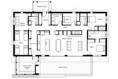 Modern Style House Plan - 4 Beds 3.00 Baths 2448 Sq/Ft Plan #497-37 Floor Plan - Main Floor Plan
