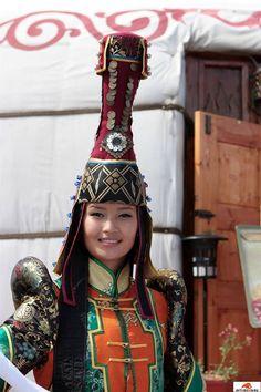 (Tuva or Tyva) Tuvan Girl in traditional dress. Siberia, Russia.