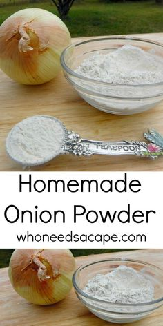 Homemade Onion Powder - Who Needs A Cape? Have you ever wanted to make your very own Homemade Onion Powder? Well here is how and it is easy as can be. Tastes better than store bought too! Homemade Dry Mixes, Homemade Spices, Homemade Seasonings, Do It Yourself Food, Tandoori Masala, Dehydrated Food, Dehydrator Recipes, Seasoning Mixes, Spice Mixes