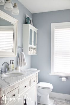Perfect paint color for boys bathroom! Sherwin Williams Krypton Love this color for our guest bathroom!
