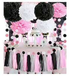 Minnie Mouse Party Decorations Minnie Mouse First Birthday Party Decorations Pink White Black Tissue Pom Pom Baby Shower Decorations Panda Themed Party, Panda Birthday Party, Minnie Mouse First Birthday, Panda Party, Decoration Minnie, Minnie Mouse Party Decorations, First Birthday Party Decorations, First Birthday Parties, Baby Shower Table Centerpieces