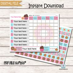 Donuts and Sweets Responsibilities Chart for Kids, Printable Chart, Printable Chore Card, Weekly Chore Chart, Job Chart, Instant Chore List Weekly Chore Charts, Weekly Chores, Chore List, Printable Chore Cards, Printable Invitations, Party Printables, Responsibility Chart, Job Chart, Personalized Buttons
