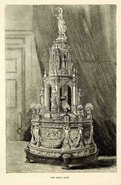 1871 Wood Engraving Art Bridal Cake Royal Wedding Princess Louise John YTG2