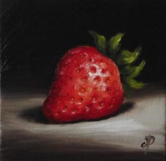 Little Strawberry, J Palmer Original oil still life mini Art