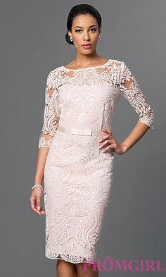 Knee Length Dress with Sequin Embroidery at PromGirl.com