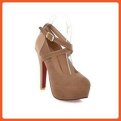 WeenFashion Women's PU Spikes-Stilettos Round-Toe Pumps-Shoes with Platform, Apricot, 41 - Pumps for women (*Amazon Partner-Link)