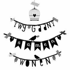 Hippe samenwoon kaart met zwarte letterslinger met de tekst: wij gaan samenwonen, verkrijgbaar bij #kaartje2go voor €1,79