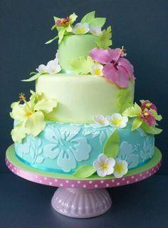 Gorgeous Hawaiian floral cake